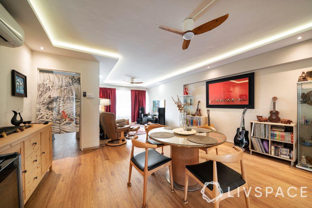 hdb-5-room-renovation-wooden-flooring-dining-table