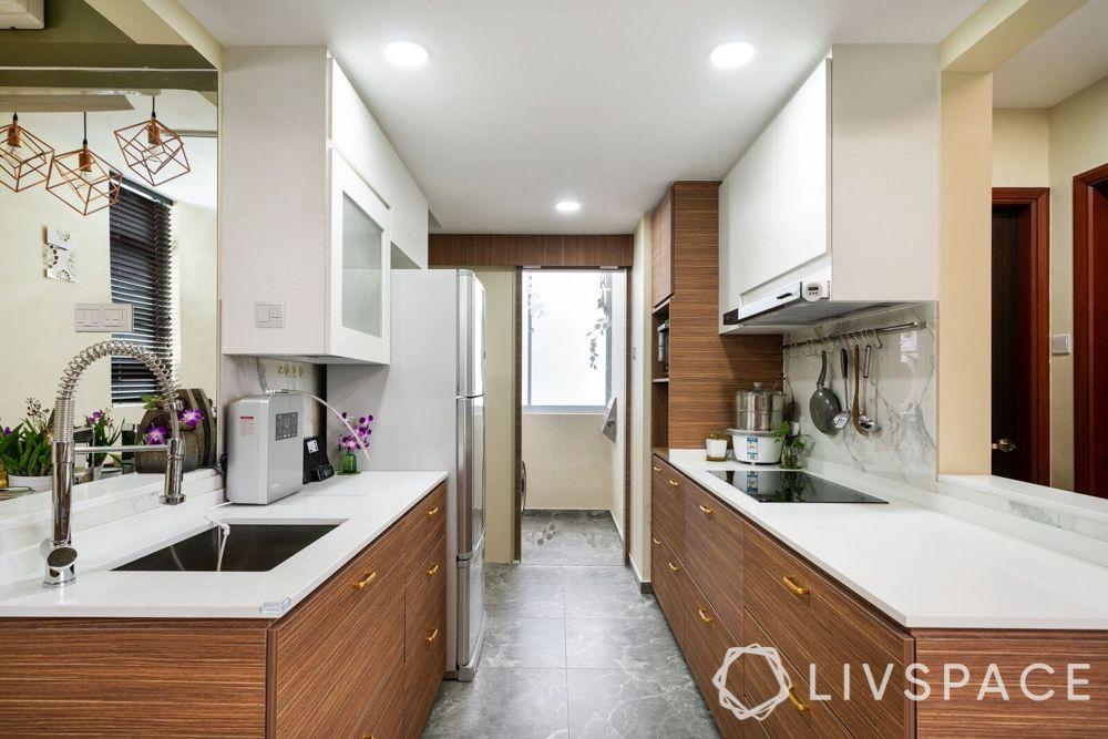 modular kitchen design-fridge-stove-laminate cabinets