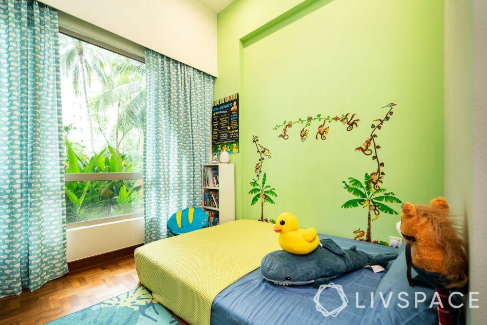 3-room-condo-boys-bedroom-green-wall-mural
