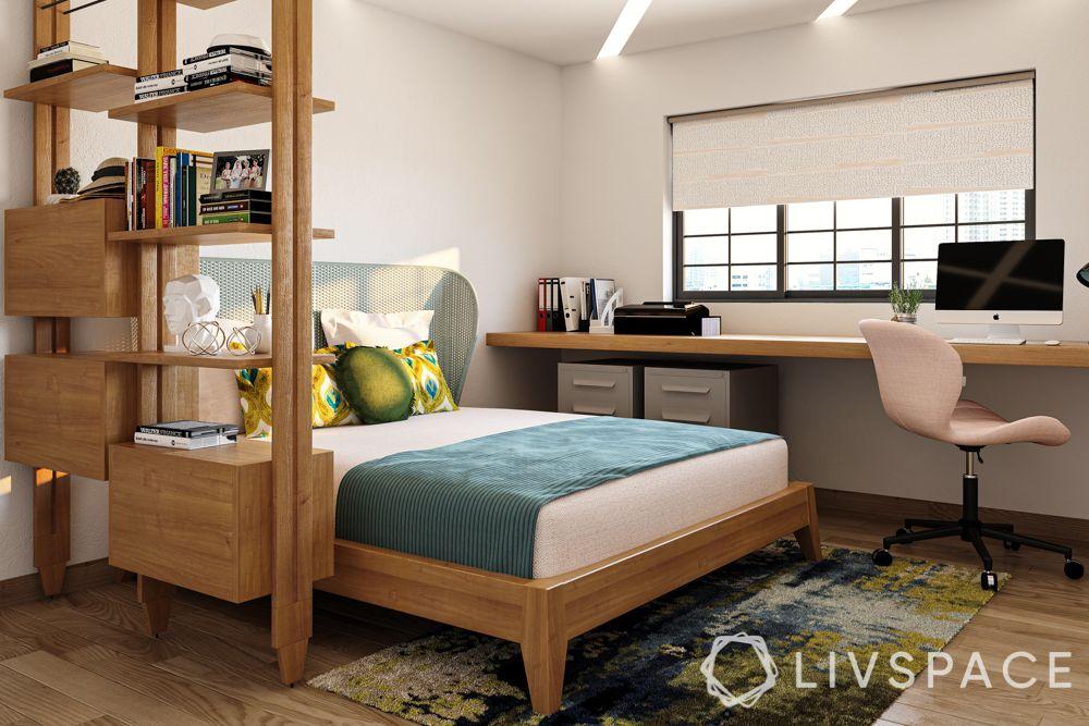 small-bedroom-design-study-table-display-shelf