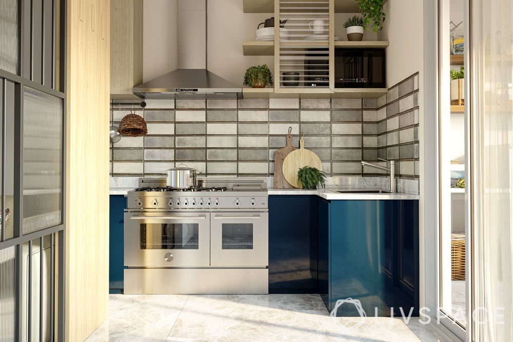 scandinavian-kitchen-sunlit-glossy-blue-cabinets-open-shelves