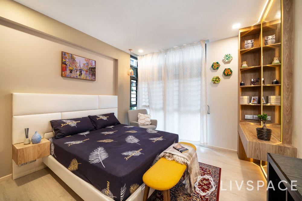house-interior-design-master-bedroom-upholstered-bed-brown-walls