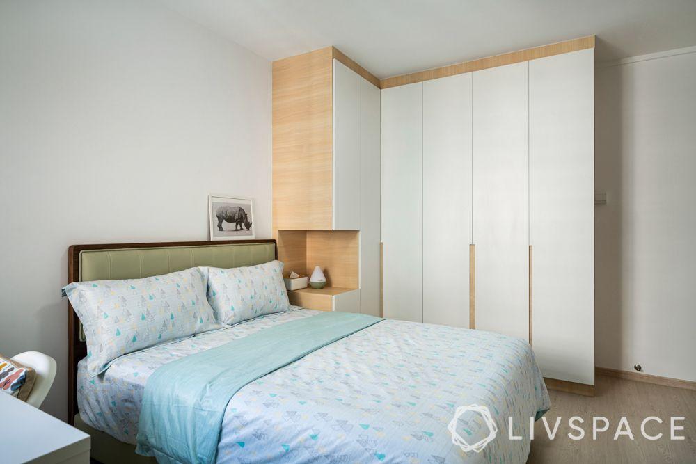 small-bedroom-ideas-l-shaped-wardrobe-white-laminate