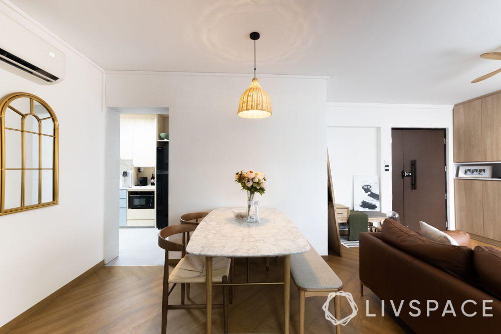 4-room-hdb-design-dining-area-stone-tabletop-bamboo-pendant-light