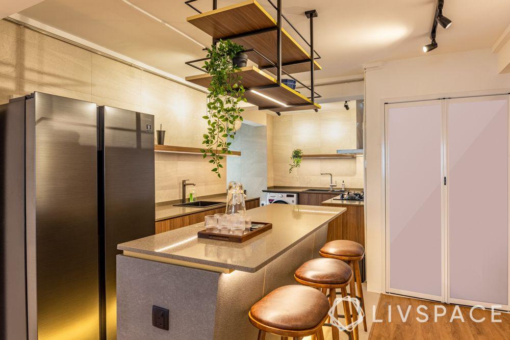 kitchen-with-island-breakfast-counter-bar-stools-wine-rack