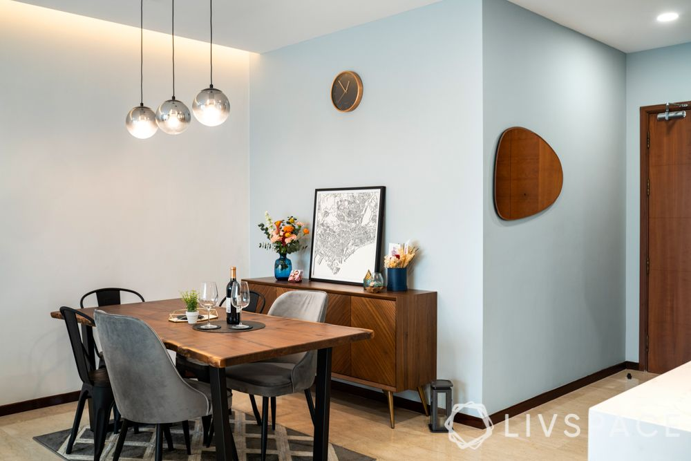beautiful-houses-dining-area-wooden-console-table-grey-chairs-pendant-lights