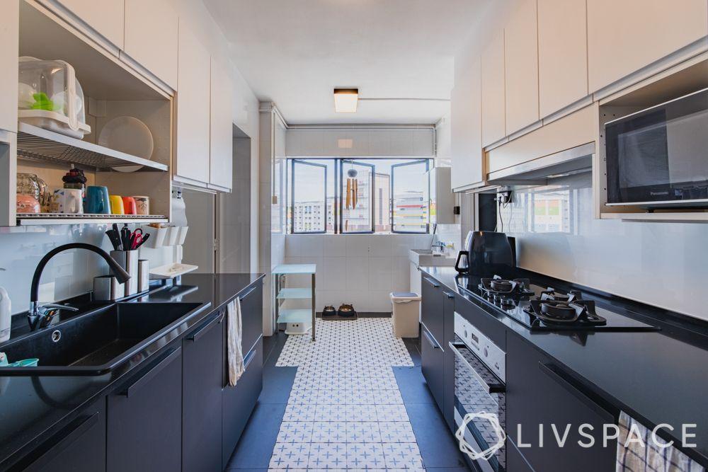 parallel-kitchen-patterned-floor-tiles-black-countertop