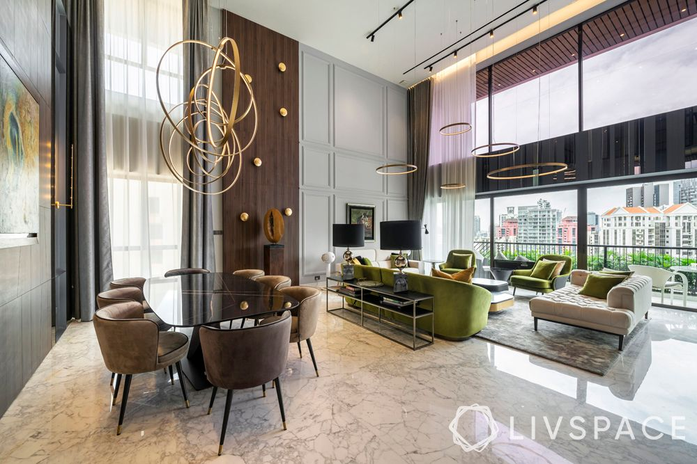 contemporary-high-ceilings-chandeliers-glossy-finishes