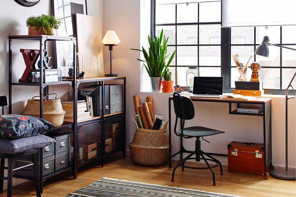 home-office-ideas-ikea-metal-study-desk-wooden-top