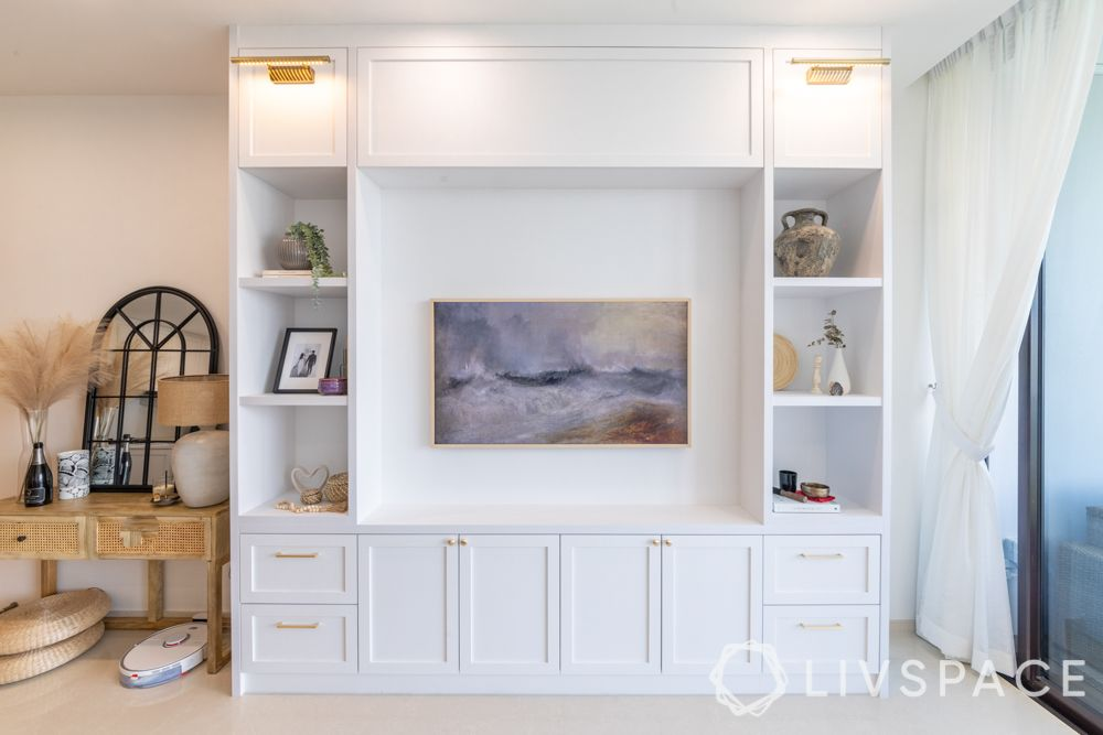 storage-ideas-TV-unit-white-cabinets-shelves