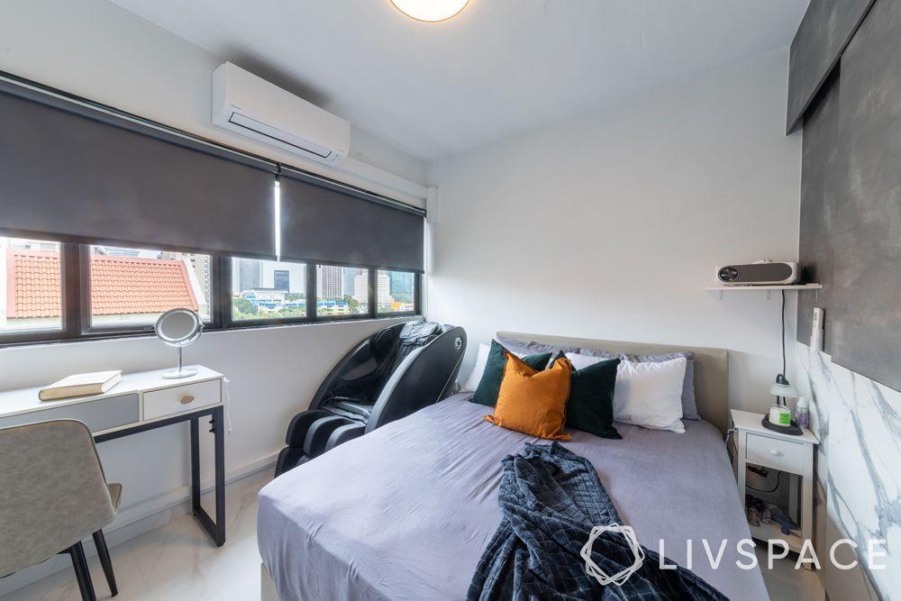 3-room-resale-flat-master-bedroom-massage-chair-grey-blinds-upholstered-bed
