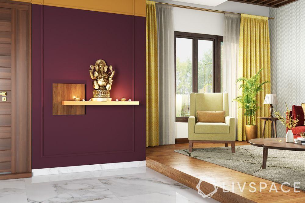pooja-room-design-bold-colour-maroon-paint-wall-ledge