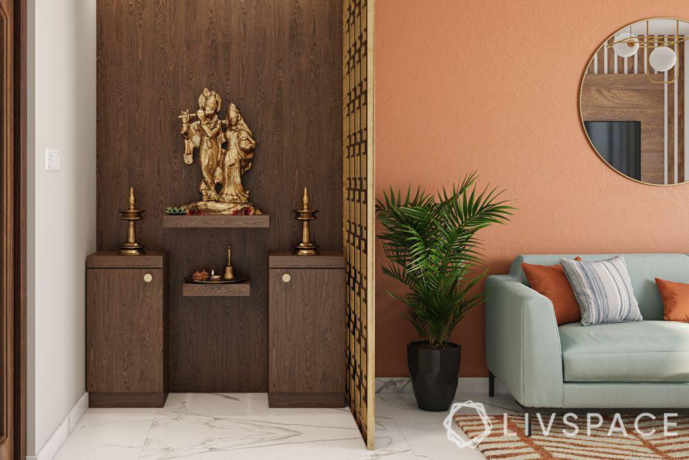 pooja-room-design-wooden-lattice-partition-downlights