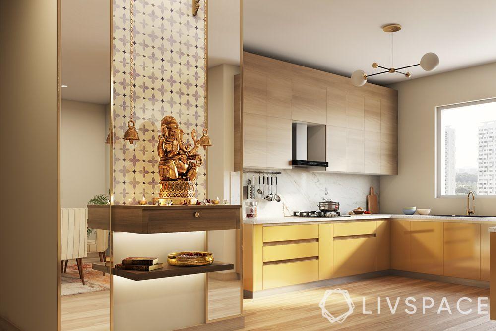 pooja-room-design-mirror-panels-wall-mounted-unit-open-shelf