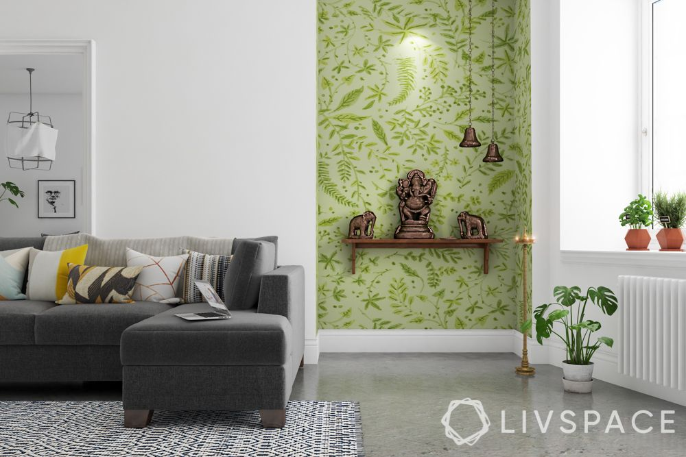 pooja-room-design-green-wallpaper-corner-unit