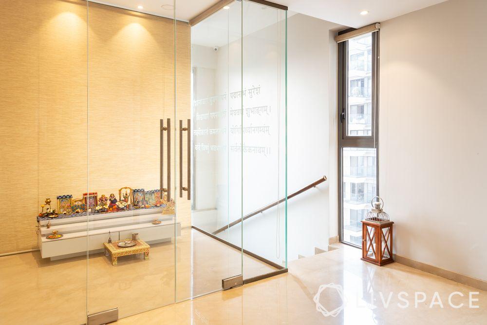 pooja-room-design-glass-doors-compact-unit