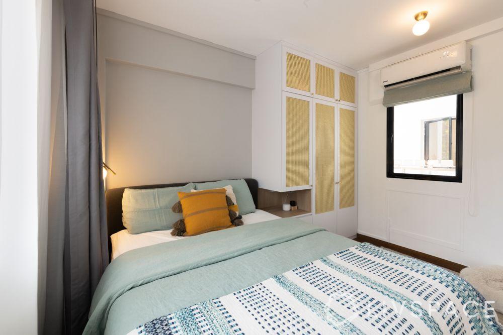 scandinavian-bedroom-rattan-cane-shutters-grey-white-walls