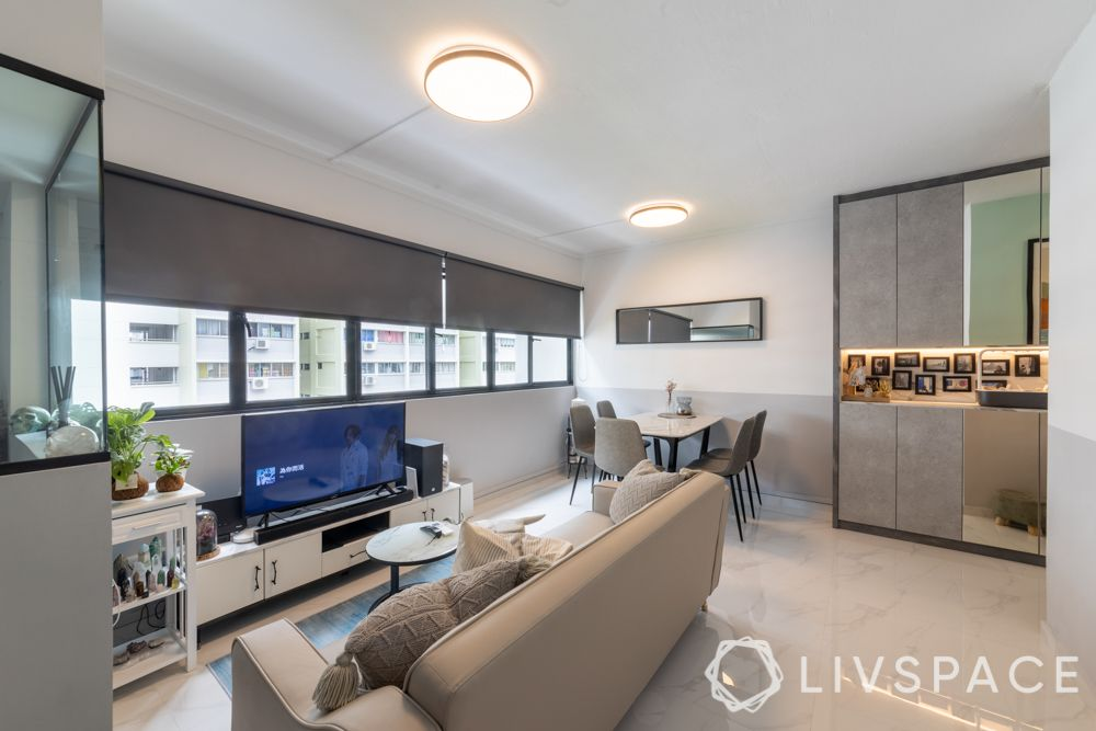multifunctional-living-room-dining-room-beige-couch-white-TV-unit