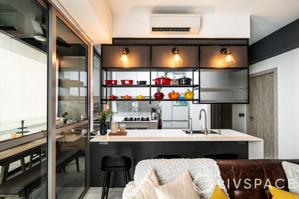 open-concept-kitchen-hdb-blach-and-white-suspended-shelf-in-built-lighting