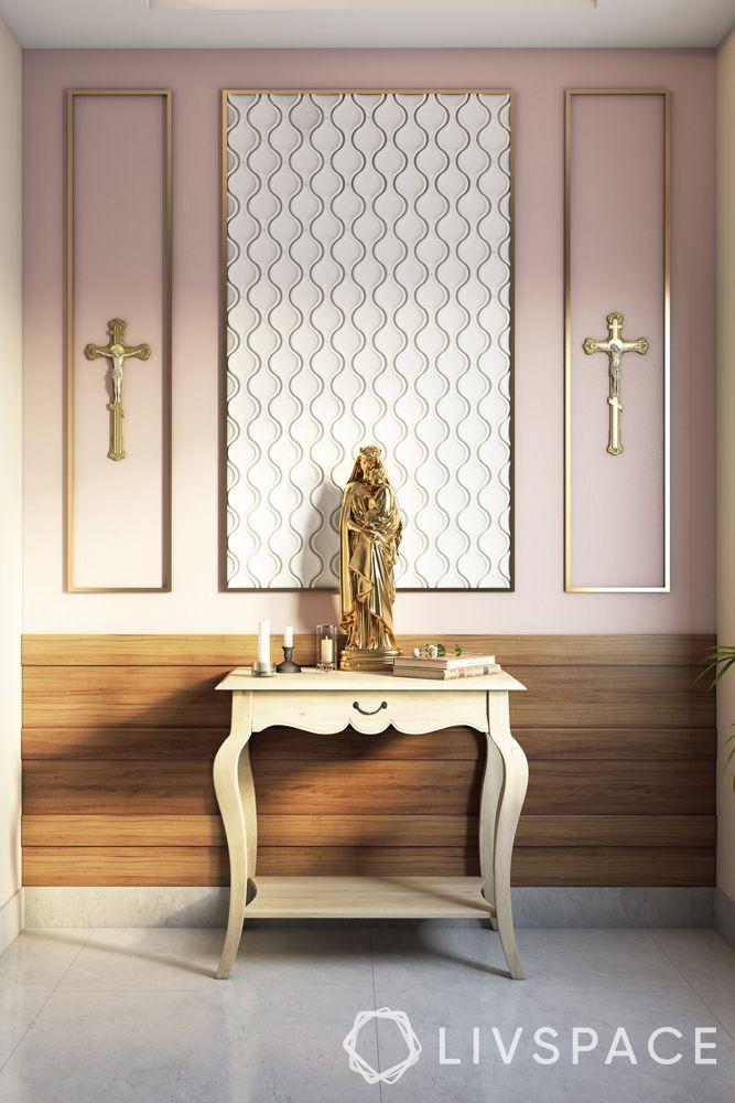 catholic-home-altars-console-table-metallic-wall-trims