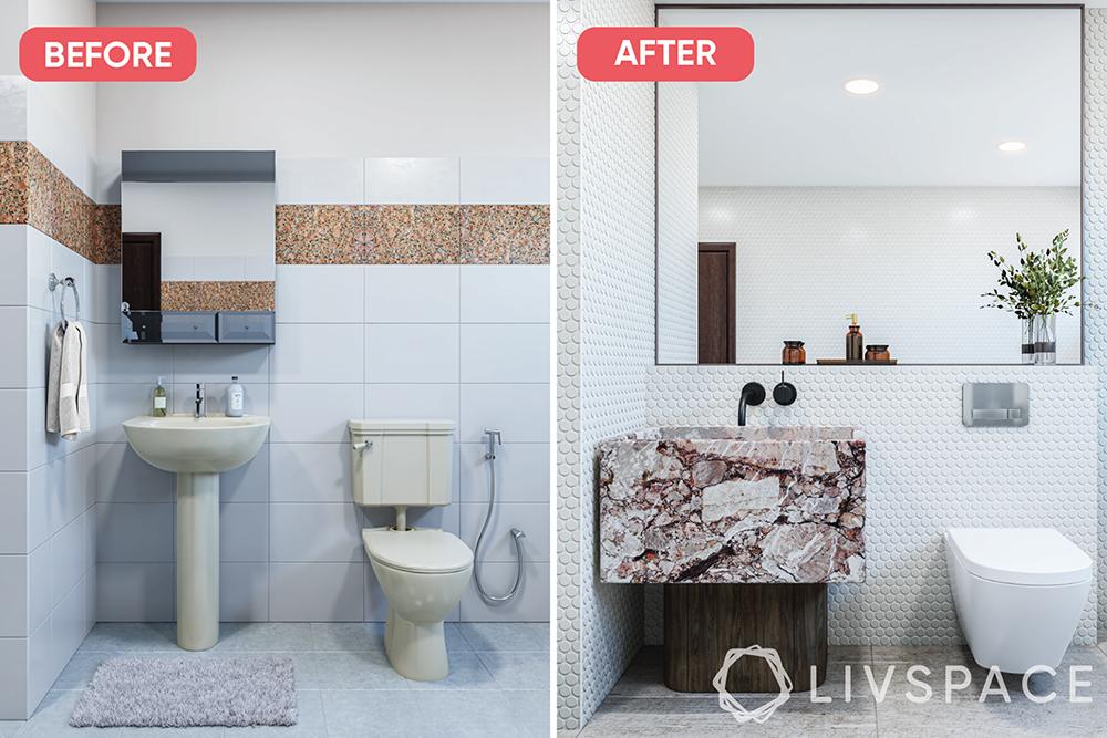 renovate-a-bathroom-big-mirror-patterned-vanity-white-tiles