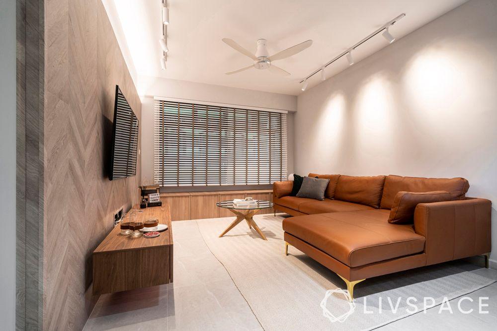 minimal-interior-design-living-room-brown-sofa-vinyl-tiles