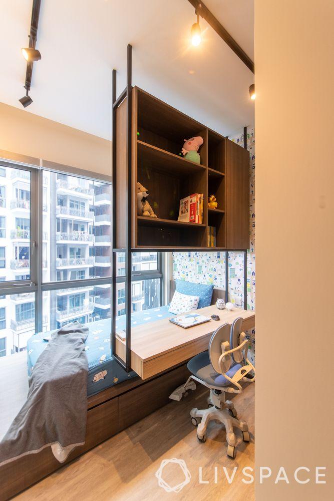 girls-room-ideas-study-table-suspended-metal-rack-shelves