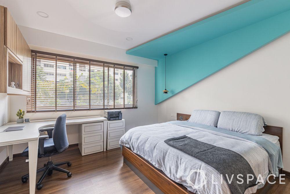 study-room-designs-blue-false-ceiling-wooden-flooring-white-study-unoy