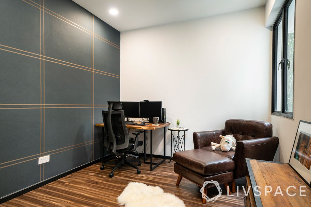 study-room-designs-grey-wall-wooden-flooring-brown-chaise