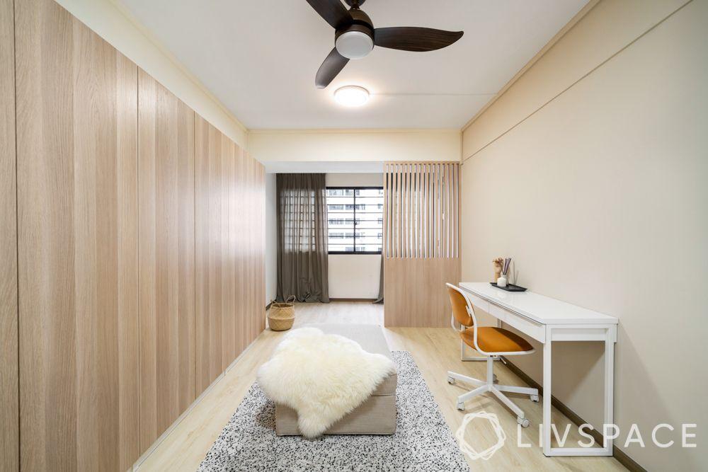 study-room-designs-neutral-wood-white-desk-orande-chair-grey-ottoman