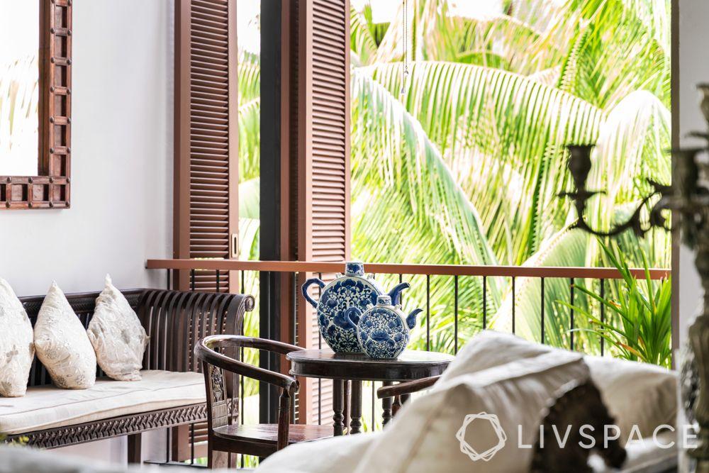 modern-vintage-interior-design-ceramic-pots-wooden-side-table