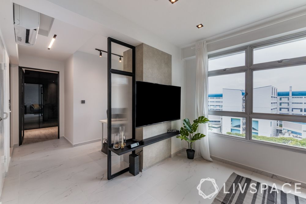 beautiful-houses-white-TV-wall-glass-partition