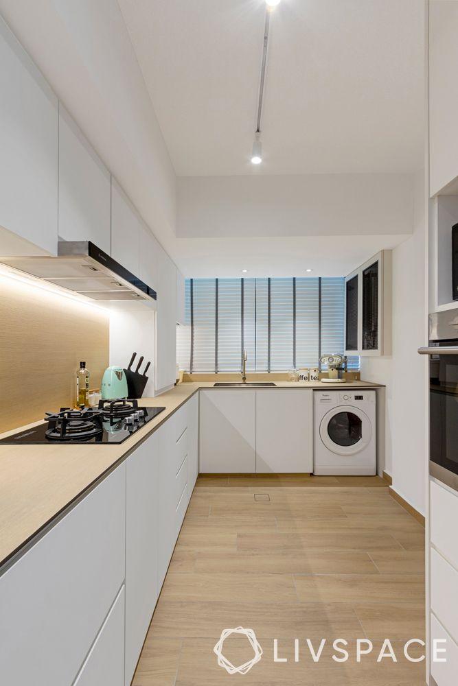 vinyl-flooring-modular kitchen-white-cabinets