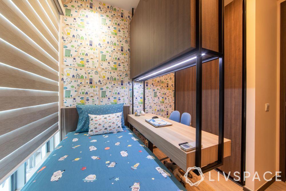 condo-renovations-kids-bedroom-printed-wallpaper-compact-room