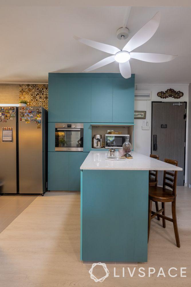 kitchen island design-blue and white kitchen-extended island