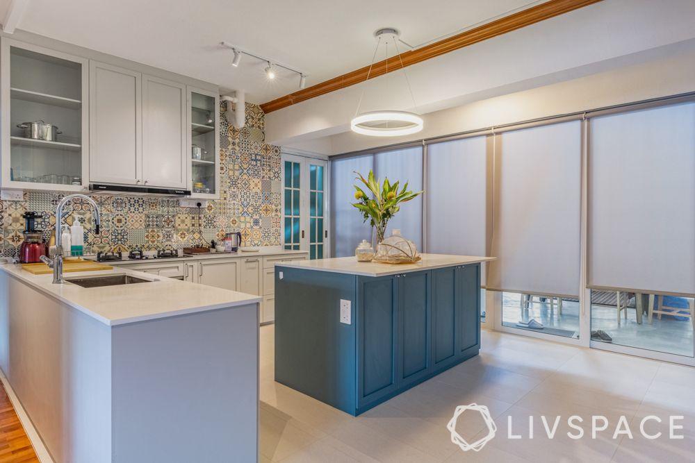 kitchen island design-Moroccan tiles-powder blue cabinet