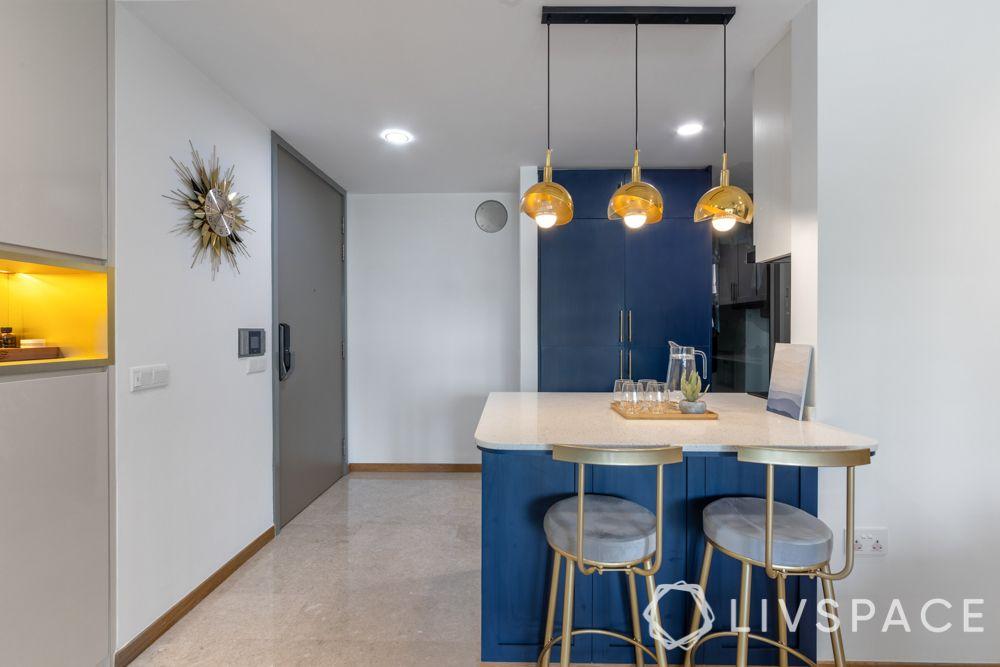 kitchen island design-breakfast counter-chic lighting