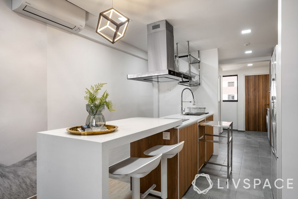 kitchen island design-breakfast counter-hob and chimney