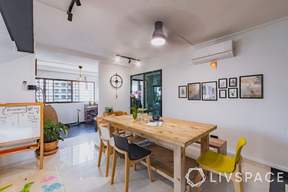 hdb maisonette-wooden dining table-yellow chair