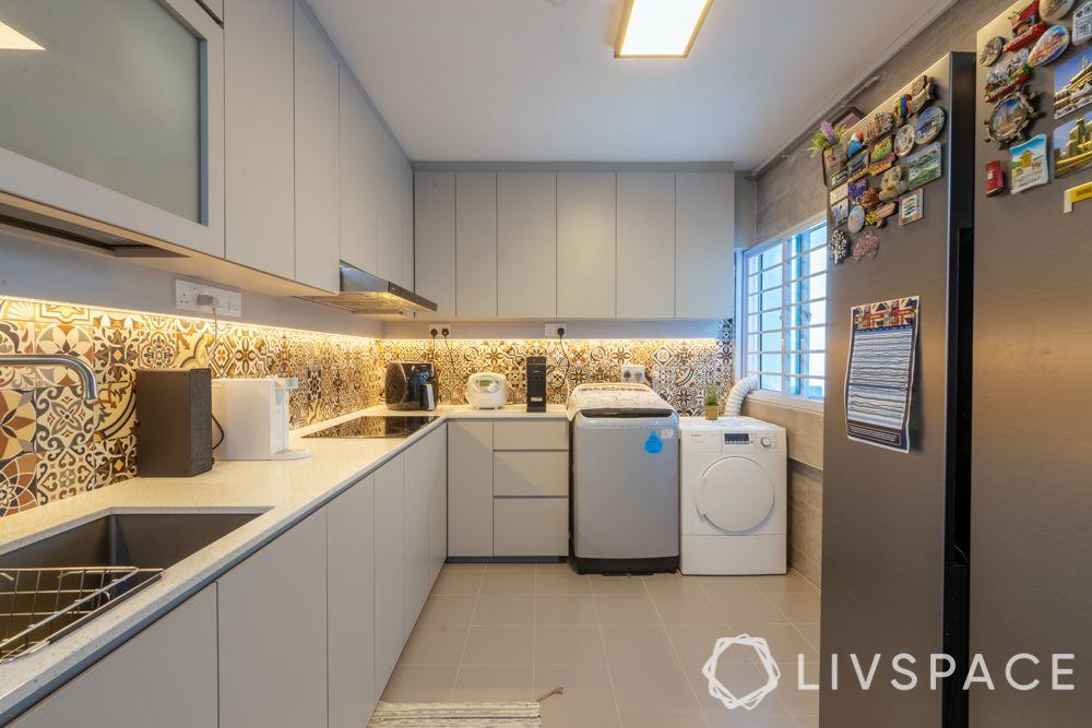 hdb maisonette-white kitchen-washing machine