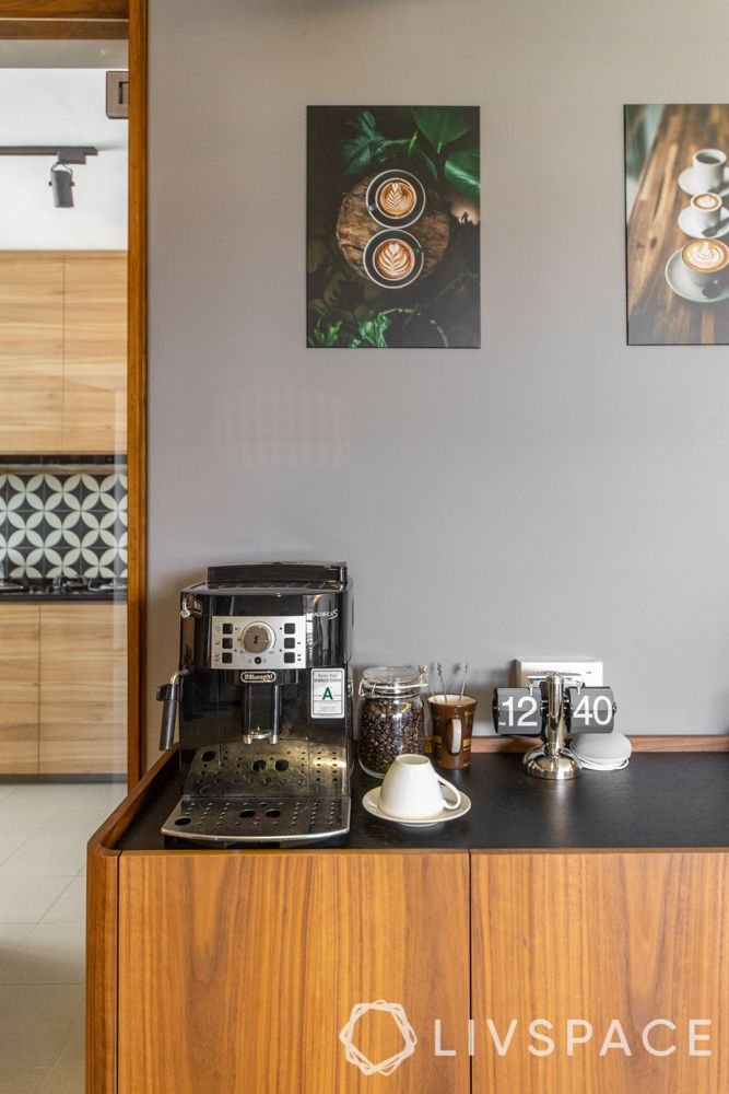 hdb-4-room-resale-renovation-coffee-station-wooden-console-grey-wall-coffee-artwork