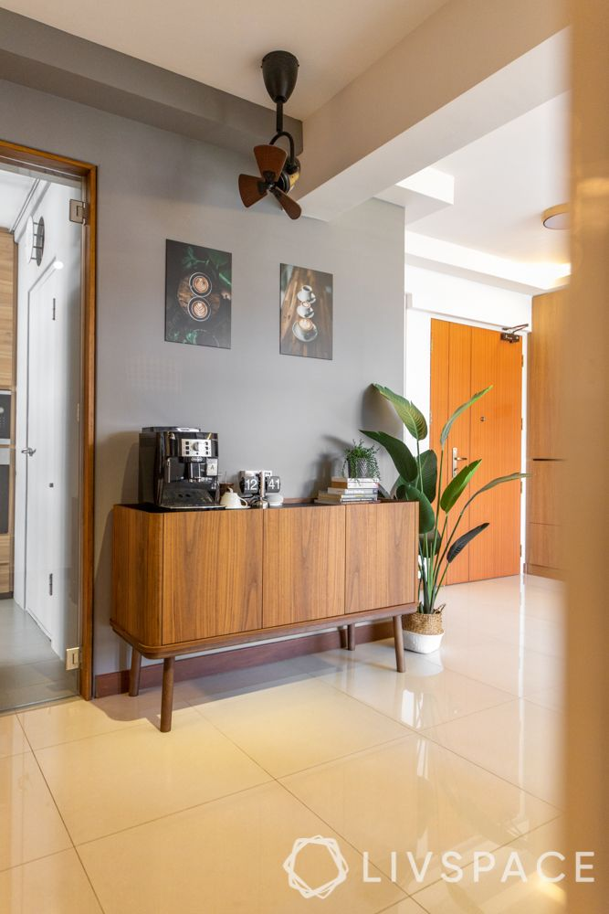 hdb-4-room-resale-renovation-coffee-station-wooden-console-coffee-artwork-grey-wall-plant