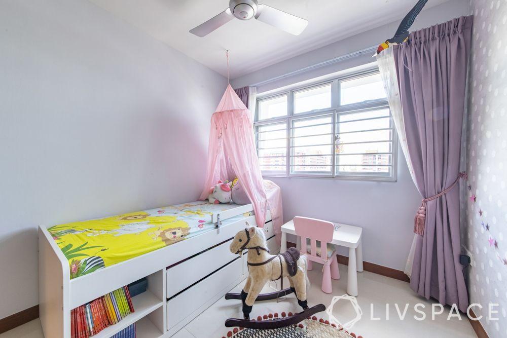 hdb-4-room-resale-renovation-kids-bedroom-multifunctional-white-bed-purple-curtains-pink-net