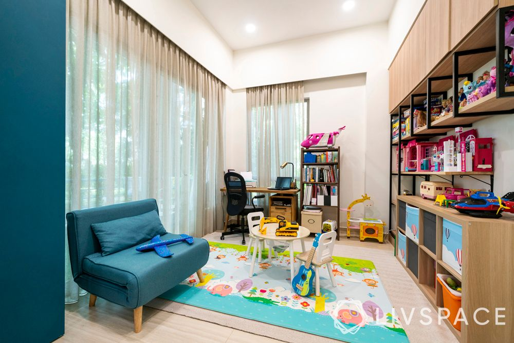 childrens-bedroom-wall-storage-colourful-rug