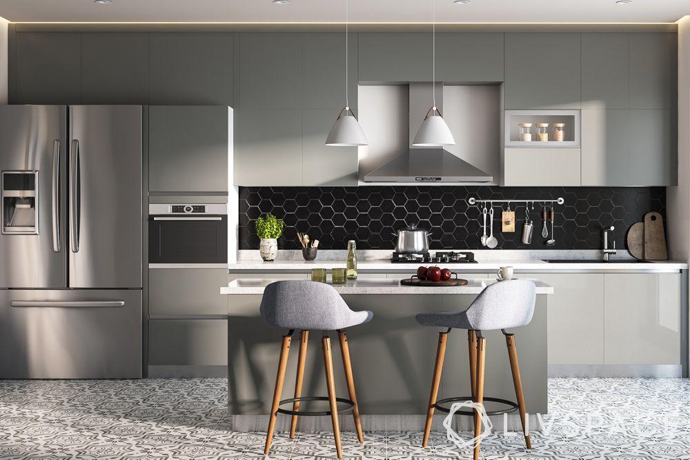 modern-kitchen-design-island-kitchen-steel-fridge-black-backsplash