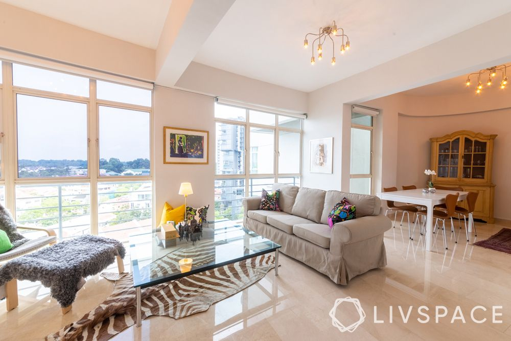2-bedroom-condo-living-room-sofa-animal-print-rug