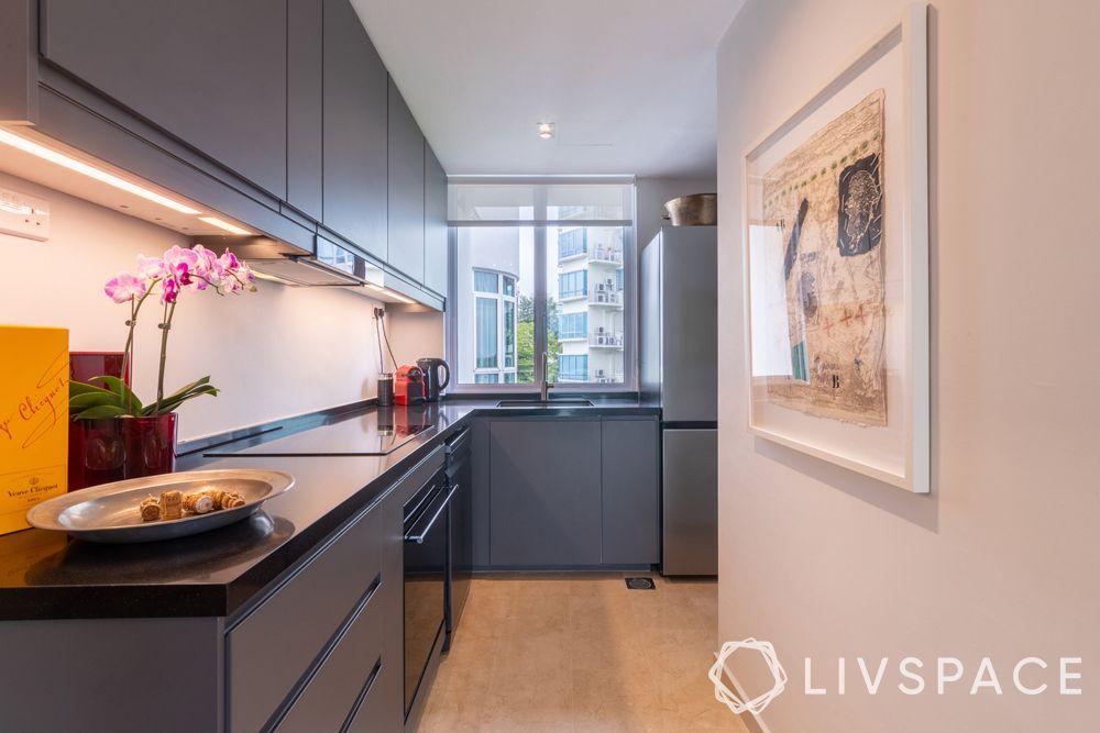 2-bedroom-condo-kitchen-grey-cabinetry